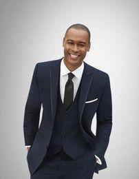 $enCountryForm.capitalKeyWord Australia - New Arrival Wedding Men Groom Tuxedos Navy Blue Suit Men's Business Office Slim Fit Good Quality Male Suits 3 Pieces Sets CY011
