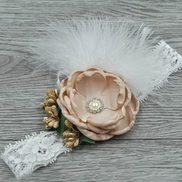 $enCountryForm.capitalKeyWord Canada - Lace baby headbands feather kids headband large flower girl designer headband designer headbands hair accessories for girls head bands A5785