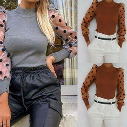 Wholesale womens polka dot tops online – Womens Autumn Polka Dots Sleeve Blouse Winter Warm Sheer Mesh Shirt Puff Long Sleeve Knitted Blouse Top Sexy Slim Female Blusas