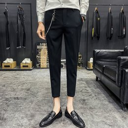 weddings dress pants Canada - 2020 Chain Decoration Men's Business Dress Pants Black Classic Streetwear Casual Slim Suit Pants Singer Stage Wedding Trousers