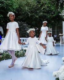 White Communion Dresses Short Australia - 2019 New White Satin Short Sleeves A Line Princess Flower Girl Dresses For Wedding Kids Cheap Birthday First Holy Communion Dresses