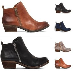 low wedge ankle boots Canada - hot style vintage Martin boots with polished color and thick heel zip ankle boots available for ladies size 34-43 173
