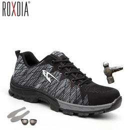 ROXDIA marca puntera de acero mujeres hombres botas de seguridad de trabajo de acero suela media resistente al impacto zapatos masculinos suaves más el tamaño 39-48 RXM106 en venta