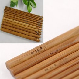 wholesale bamboo crochet hooks Australia - 12Pcs Sweater knitting Circular Bamboo Handle Crochet Hooks Smooth Weave Craft Needle GQ999