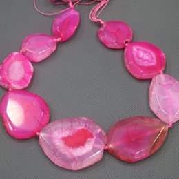 Gem Slices Australia - 25-45mm Large Stone Slab Slice Beaded, Natural Pink Druzy Faceted Stone Beads Gems Stone Connector Pendant 15.5inch Full Strand