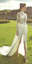 sleeved wedding dress plus Canada - Summer's New Women's Dress Sexy Lace Long-Sleeved Perspective Dress Wedding Dress H 068