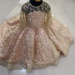 Sparkly ball gown girl dreSSeS online shopping - Sparkly Gold Lace Little Girls Pageant Dresses Sequined Ball Gown Flower Girl Dress For Wedding Long Sleeves First Communion Gowns