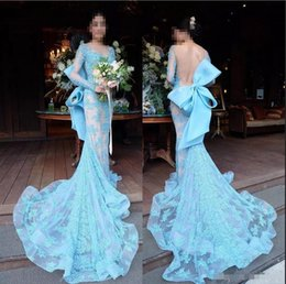 Dress evening big bow online shopping - Baby Blue Mermaid Long Sleeve Lace Evening Gowns Long Sheer Neckline Open Back Big Bow Applique Court Train Prom Dresses