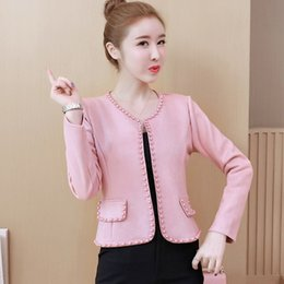 woman elegant coats size xs 2019 - Autumn Women High Waist Pearls Jackets Korean Solid O-Neck Cropped Jackets Casual Plus Size Elegant Long Sleeve Coats ch