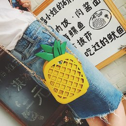 $enCountryForm.capitalKeyWord Australia - Women Cross Body Cute Pineapple Shoulder Bags Girls Pineapple Totes Handbags Chain Bag