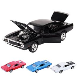 sound charger Australia - 1:32 Charger Diecast Metal Model Car Sound And Light Pull-back Vehicle Toy For Boy Children Christmas