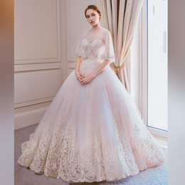 pictures colorful feathered wedding dresses Canada - The new bride goes out to Saidi Europe and the United States drag tail Korean wedding princess dream size light