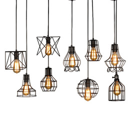 $enCountryForm.capitalKeyWord Australia - 2019modern black cage pendant lights iron minimalist retro Scandinavian loft pyramid lamp metal Hanging Lamp E27 Indoor