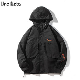 Una Reta Jacket Man 2020 New Harajuku Cool Black Coat With Hooded Korean Style Men's Clothing Streetwear Print Jackets For Men