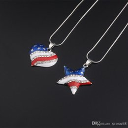 $enCountryForm.capitalKeyWord NZ - New Arrive USA Flag Necklace Enamel Heart Star Pendant 4th of July Independence Day Crystal Jewelry Best Gift