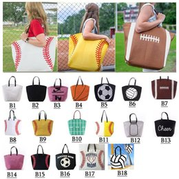 Multi Color Hand Bag Australia - 18 Designs Canvas Shoulder Bag Baseball Tote Sports Hand Bags Casual Softball Football Soccer Basketball Cotton Canvas Tote Bag 010
