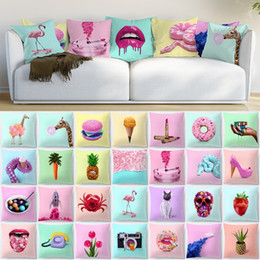 cute animal pillowcase Canada - Single-side Pink Animal Polyester Decorative Pillowcase Giraffe Snake Cute Cartoon Cat Red Lips Rainbow Camera Cushion Cover Car