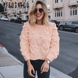 $enCountryForm.capitalKeyWord Australia - Affogatoo Casual pompon autumn winter knitted Pink sweaters women O neck long sleeve pullover female Fashion loose ladies jumper