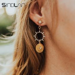 $enCountryForm.capitalKeyWord Australia - Sindlan Crystal Sun Earrings for Women Gold Long Drop Earrings Pendants Boho Ear Studs Summer Lady Ear Jewelry Korean Style