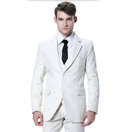 white gold groom tuxedos UK - Tailor made mens suits ivory men wedding tuxedos suit fashion handsome groom best man prom dress suits (jacket+vest+pants)