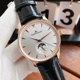 Новые мужские бизнес кожаный ремешок автоматические механические часы громкое имя дизайнер простой стиль фазы Луны дисплей моды часы 1263520