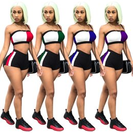 Discount cycling sexy - Women Chest Wrap shorts 2 Piece Set Panelled Crop Tops Shorts Outfits Nigth Club Short Pants Bra Tracksuit sportswear se