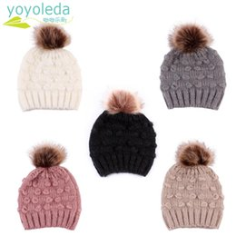 8da0672d0f3 Cute Toddler Kids Boy Hat Baby Infant Warm Cap Winter Wool Hat Knit Beanie  Fur Pom Pom For Girls Childrens Drop Shipping