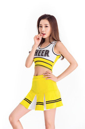 Women Costume Cheerleader UK - Women High School Cheerleader Costume School Girls Cheerleading Uniforms Sexy Musical Glee Cheer Suits Outfit Tops Skirt
