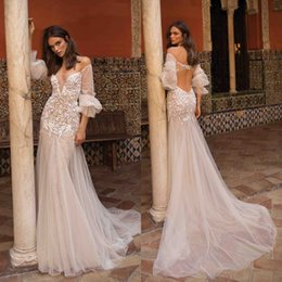 Chinese  illusion Mermaid Summer Boho Wedding Dresses 2019 Sexy Key Hole Backless Poet Sleeves Appliqued Long Bridal Gowns Robe de mariee manufacturers