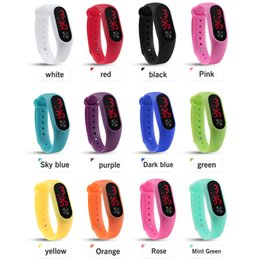 kids digital sports watch NZ - Fashion Outdoor Simple Sports Red LED Digital Bracelet Watch Men Women Colorful Silicone Watches Kids Children Wristwatch Gift
