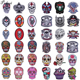$enCountryForm.capitalKeyWord NZ - Pulaqi Skull Embroidery Iron 3d Patches For Clothing Badge Jacket Patch Decor Jeans Patches Heat Transfers Sew On Punk Patches H