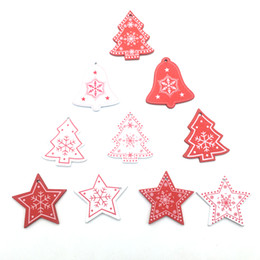 $enCountryForm.capitalKeyWord Australia - Promotion 5cm White Red Christmas Tree Ornament Wooden Hanging Pendants Angel Snow Bell Elk Star Christmas Decorations