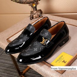 Year boYs casual shoes online shopping - Mens Luxury Monte Carlo Designer Dress Black Brown Lattice Leather Casual Loafers Men Slip on Pointed Oxford Shoes With box