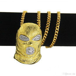 Chain Counter Australia - New Diamond-Encrusted Hip-hop Counter-terrorism Hood Pendant Men's Necklace Nightclub Bubble Bar Single-Fashioned Men's Necklace Jewelry