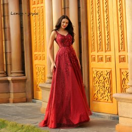 $enCountryForm.capitalKeyWord NZ - Lemon joyce Formal Evening Dresses Red Long 2019 Elegant Beading Backless A-Line Sexy V-neck Empire Waist Burgundy Ball Gowns