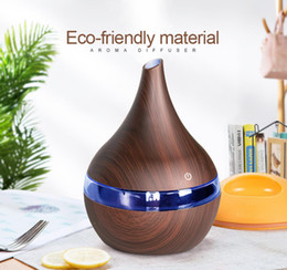 Wholesale New hot 300ml USB Electric Aroma air diffuser wood Ultrasonic air humidifier Essential oil cool mist maker for home free shipping