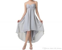 special gowns UK - Short Front Long Back Evening Dresses Special Occasion A-Line Dresses High Low Prom Dresses Grey Party Formal Gowns
