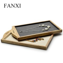 $enCountryForm.capitalKeyWord NZ - wholesale Cream-white&Dark gray Solid wood Necklace&Pendant display Stand with Microfiber for Jewellry Ring Exhibition Jewelry Tray