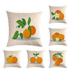 "Coffee Housing Australia - Simple Fruit Orange Pillow Cover Printing Linen Pillow Case Square 18"" Throw Cushion Case Coffee House Home Sofa Waist Car Back Party Decor"