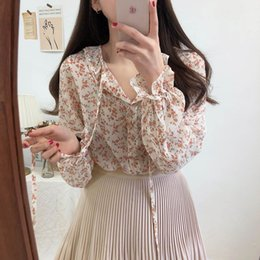 chiffon printing sexy girl Canada - v neck sexy Shirt Summer apricot black chiffon Blouse Women Tops femme Casual Women short sleeve Girls Blouse Lace up Plus Size T200321