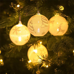 outdoor christmas ornament balls Australia - 2019 4pcs Christmas Tree Decoration LED Light Balls Snowflake Elk Star Printing Hanging Ornaments Xmas Party Bedroom Outdoor