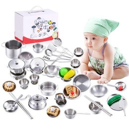 kitchen play set NZ - 27pcs set Stainless Steel Kids House Kitchen Toys Cooking Cookware Children Pretend Play Kitchen Playset for dropshipping