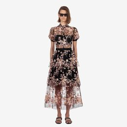 Collared Mid Calf Dress UK - A Line Lace Short Sleeve Luxury Women Mesh Long Dresses 2019 Runway Summer Embroidery Floral Stand Patchwork Ruffles Holiday PartyDress