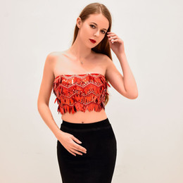 3961690c154344 Silver Sequin Crop Top Australia - Red Sequin top Prom party crop top for  woman high