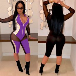sexy party jumpsuit women UK - PU Gilding Sheer Mesh Patchwork Sexy Short Jumpsuit Women Zipper V Neck Bodycon Overalls Rompers Club Party Playsuit