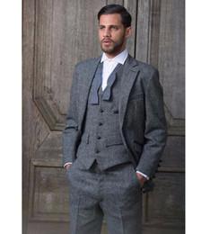 Custom Tweed Suit Australia - XLY 2019 Grey Tweed Formal Mens Suit Slim Fit Classic Custom Groomsmen Tuxedo 3 Piece Formal Office Blazer Wedding Suits (Jacket+Pants+Vest)