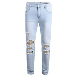 plus size destroyed jeans NZ - KIMSERE Men Hi Street Destroyed Jeans Pants With Holes Stretch Skinny Ripped Denim Trousers Fashion Streetwear Plus Size 28-42