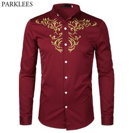$enCountryForm.capitalKeyWord Australia - Mens Hipster Gold Embroidery Mandarin Collar Slim Fit Long Sleeve Casual Dress Shirts Wine Red Business Social Camicia Uomo