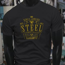 Best Cotton For T Shirts Australia - Best Steel Blacksmith Kings Landing Metal Works Mens Black T-Shirt Tee Shirt For Men Top Design Short Sleeve Crewneck Cotton XXXL Couple Cam