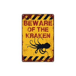 wholesale antique tin signs UK - classic vintage retro BEWARE OF THE KRAKEN FERRET RABBIT CAT PELICAN OWNER CHICKENS tin sign Coffee Shop Bar decoration Bar Metal Paintings